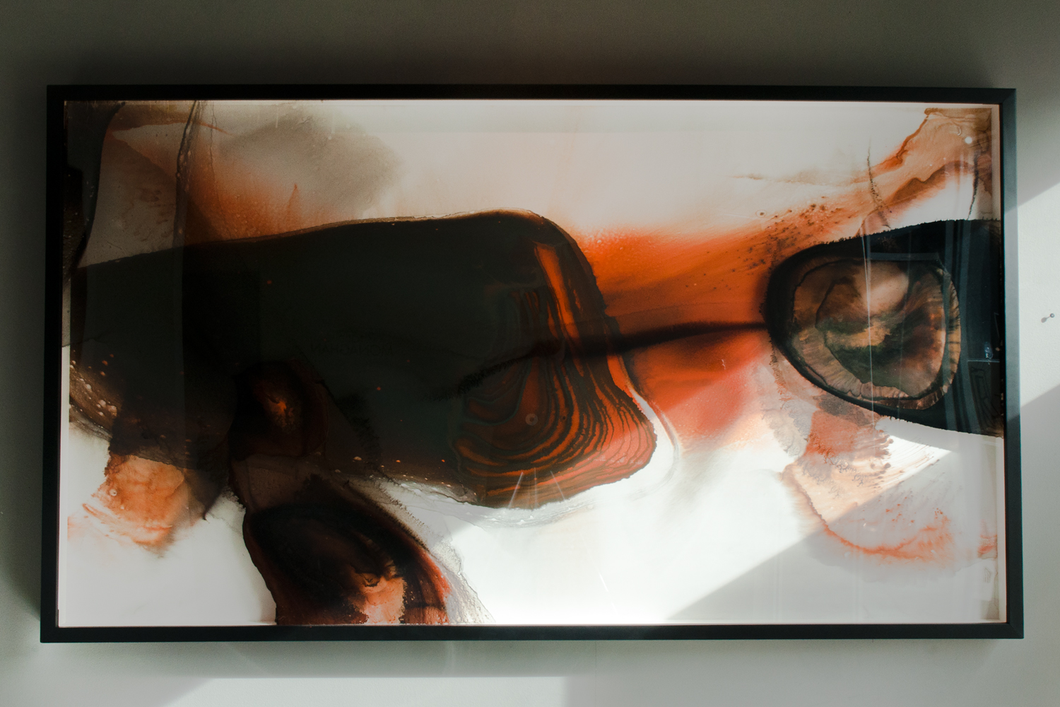 Paleolithic, sumi ink and watercolor on glass and gesso panel, 66 x 37 inches, ERO 083G
