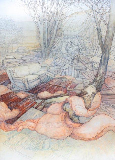 Carly Drew,Will & Testament: When your Palace Falls , watercolor, graphite, acrylic, Prismacolor on paper; 33 by 44.5 inches