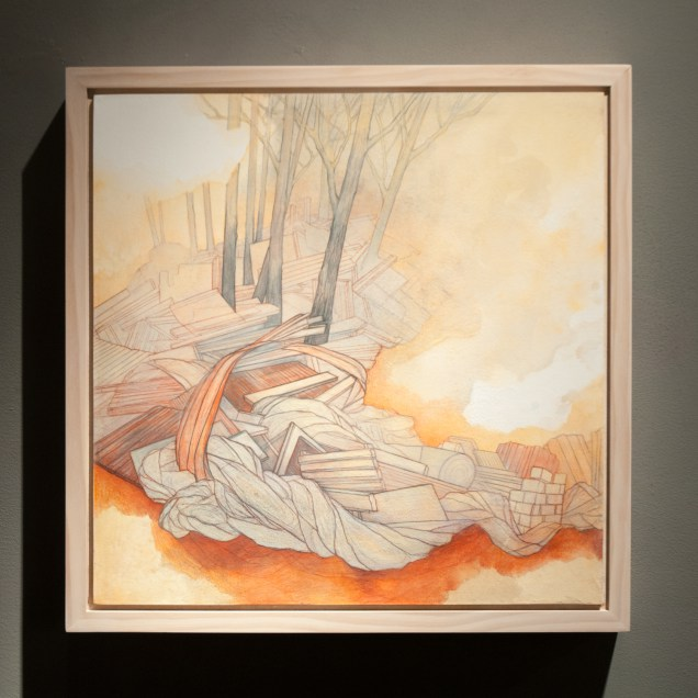 Carly Drew,The Reckoning Series (1), watercolor, graphite, acrylic, Prismacolor on paper mounted on wood panel, 20 by 20 inches