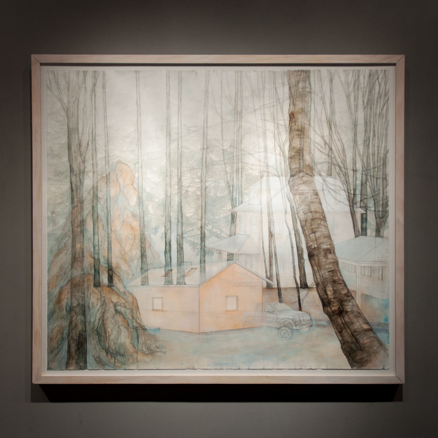 Carly Drew,Contested Grounds, watercolor, graphite, acrylic, pastel on paper, 60 by 60 inches