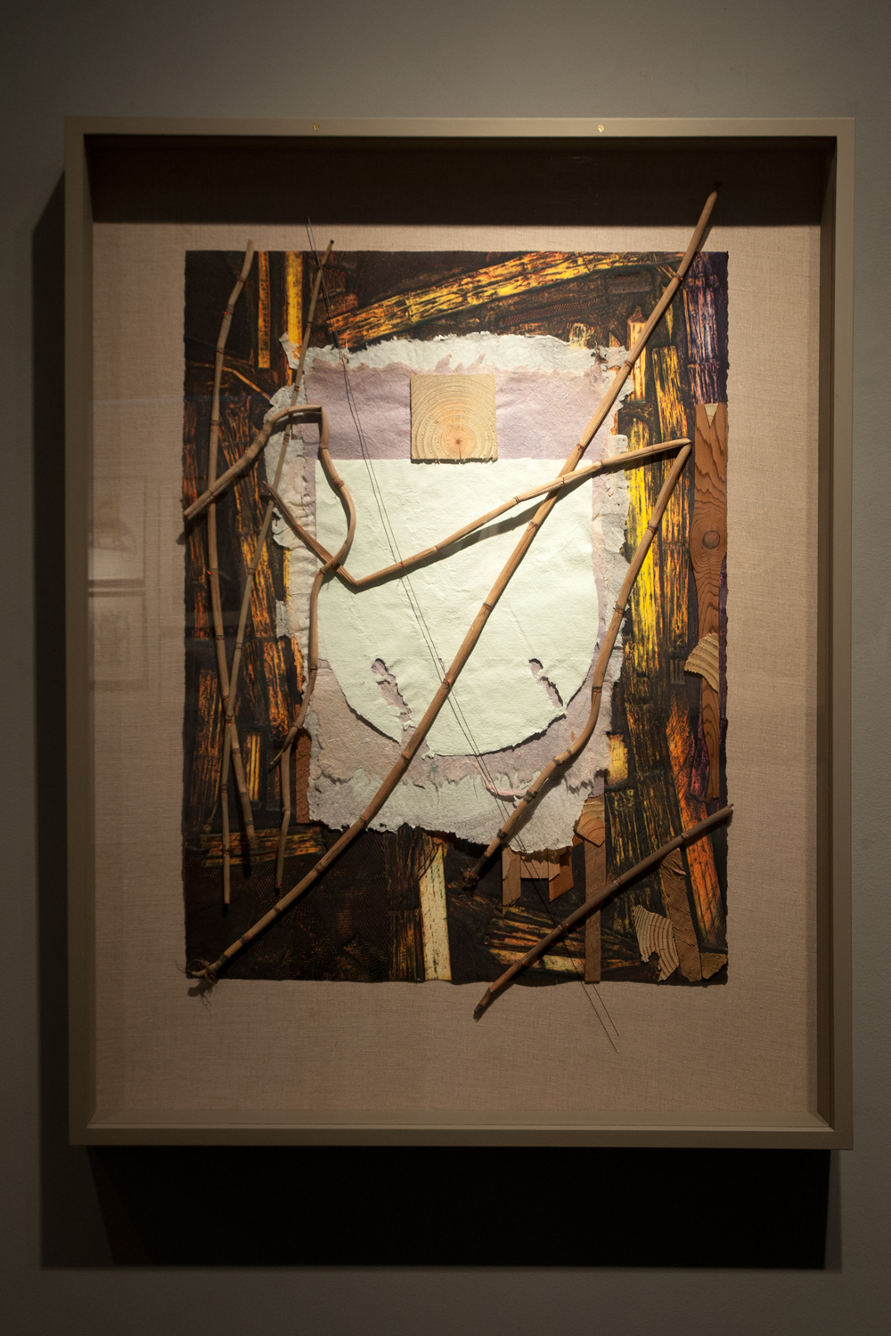 Equistales, Ancient Horsetails, #1, 2015, collagraph monoprint-assemblage, 40¾ x 31½ inches