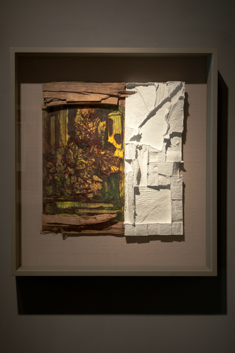 From the Roper's woodpile…evidence of a way of life, 2004, assemblage-collagraph monoprint, hand cast paper and wood, 32½ x 29¾ inches