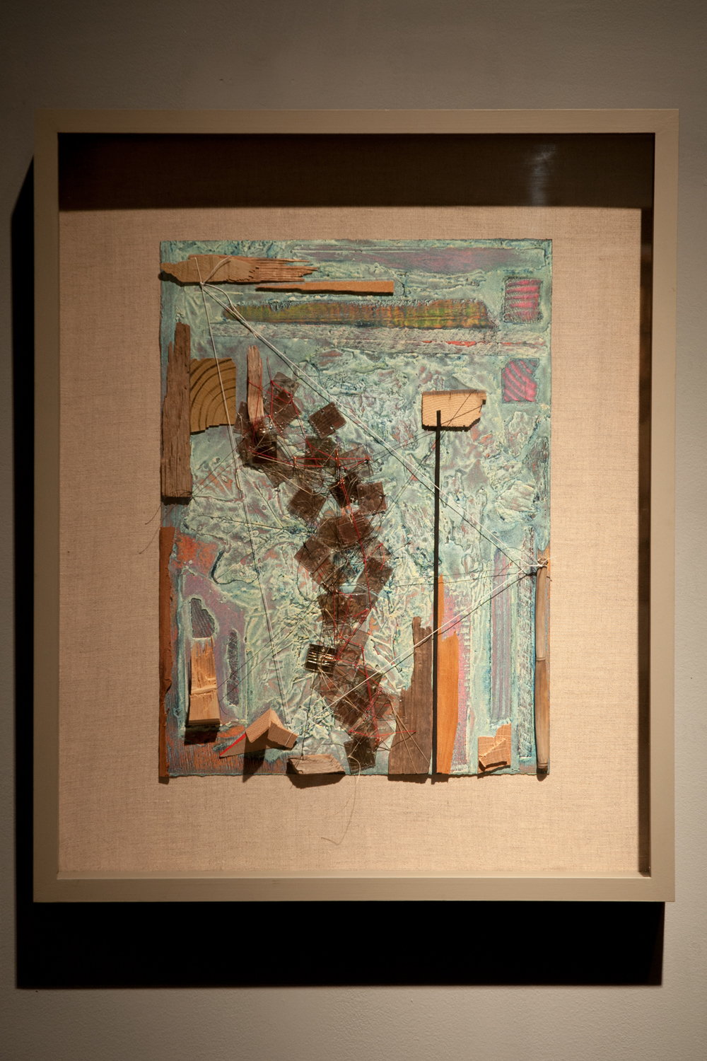 Web of Mishaps, 2016, collagraph monoprint-assemblage, 25¼ x 20½ inches