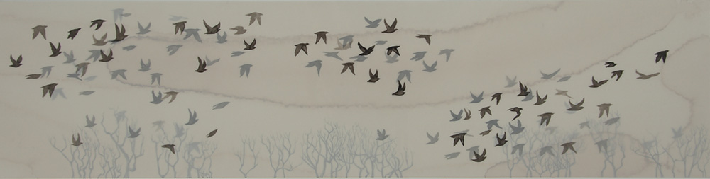 Expedition ink on mylar and paper 12 x 30 inches LHA 005G - Lisa Hart