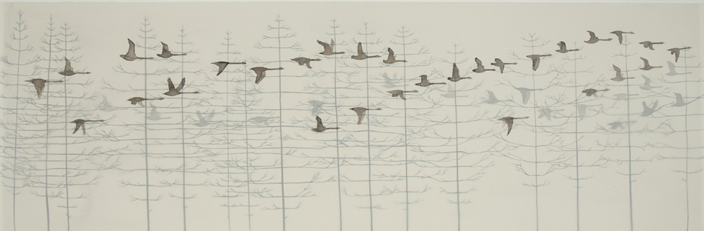 Passage ink on mylar and paper 16 x 36 inches LHA 009G - Lisa Hart