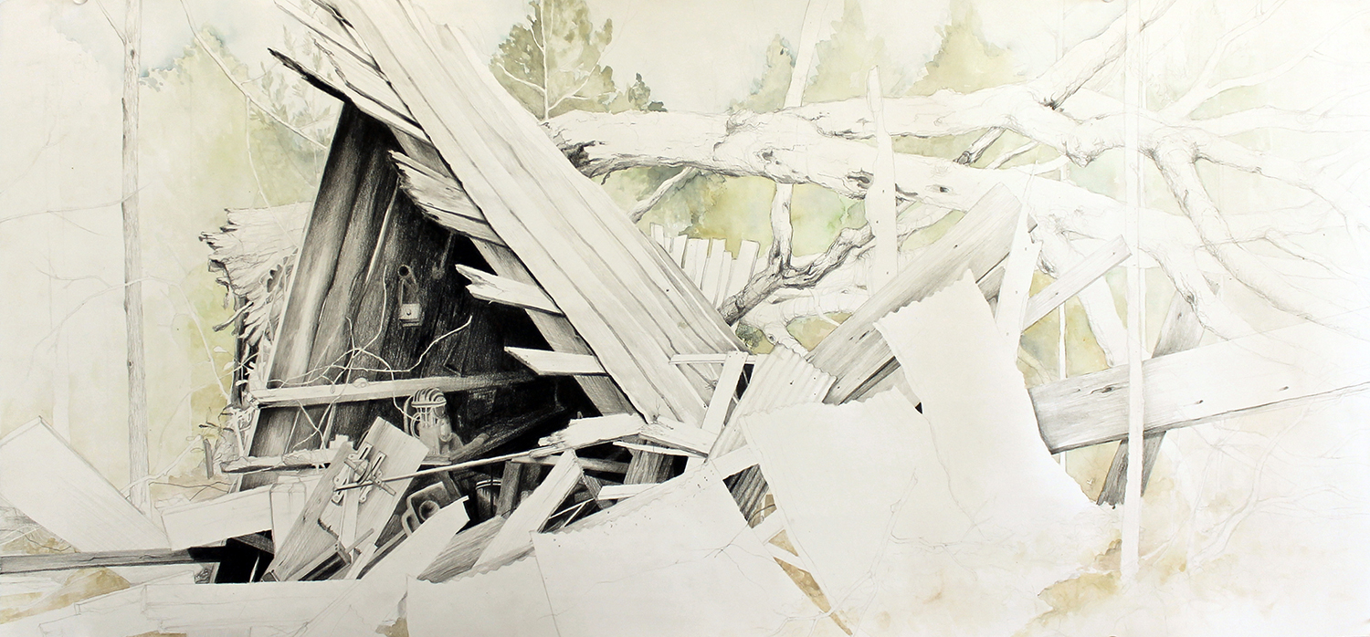 "KATELYN CHAPMAN FALL OF THE COTTON SHED GRAPHITE AND  WATERCOLOR 14"" X 30"""