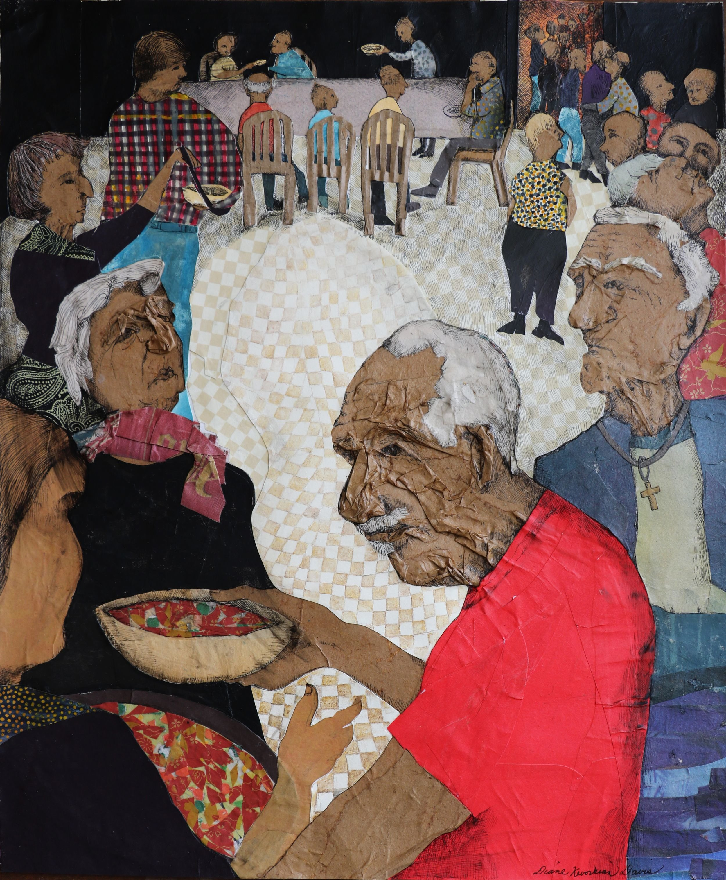 "DIANE DAVIS SOUP KITCHEN PAPER COLLAGE, PEN AND INK, COLORED PENCIL 14"" X 17"""