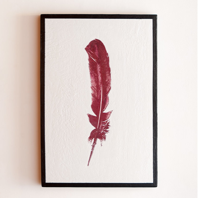 Red Feather Mixed Media on Wood Panel 37.25 x 25.25 GNO 166G