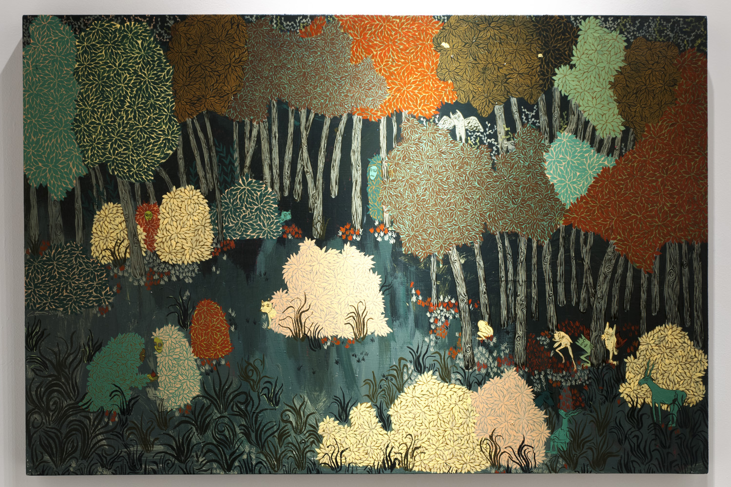 Communion at the Forest Edge Acrylic and latex paint on panel 24 x 48 inches ACA010