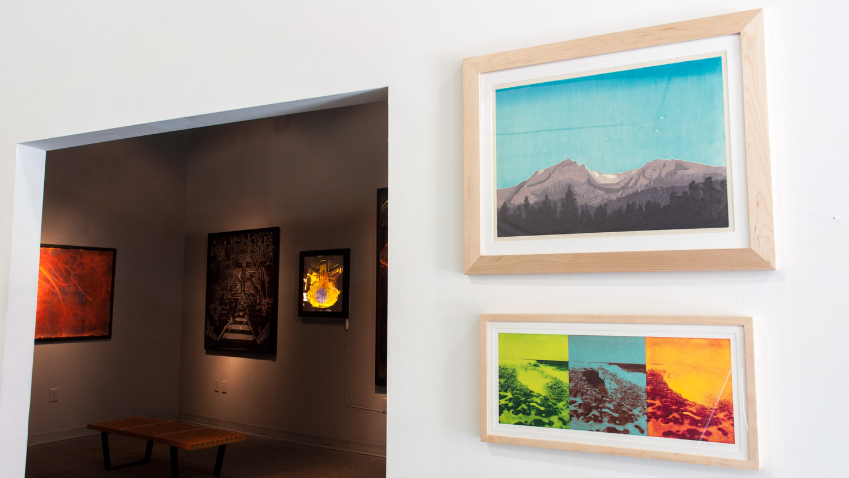 T: Tyndall Glacier woodcut print on Okawara Washi paper 17 x 24 inches TAN015 B:Devil's Bridge, Antigua (Triptych) photopolymer gravures on Okawara Washi paper 24 x 10 inches TAN026