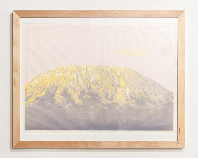 Mount Kilimanjaro reductive woodcut print on Auska Washi paper 31 x 44 inches TAN029