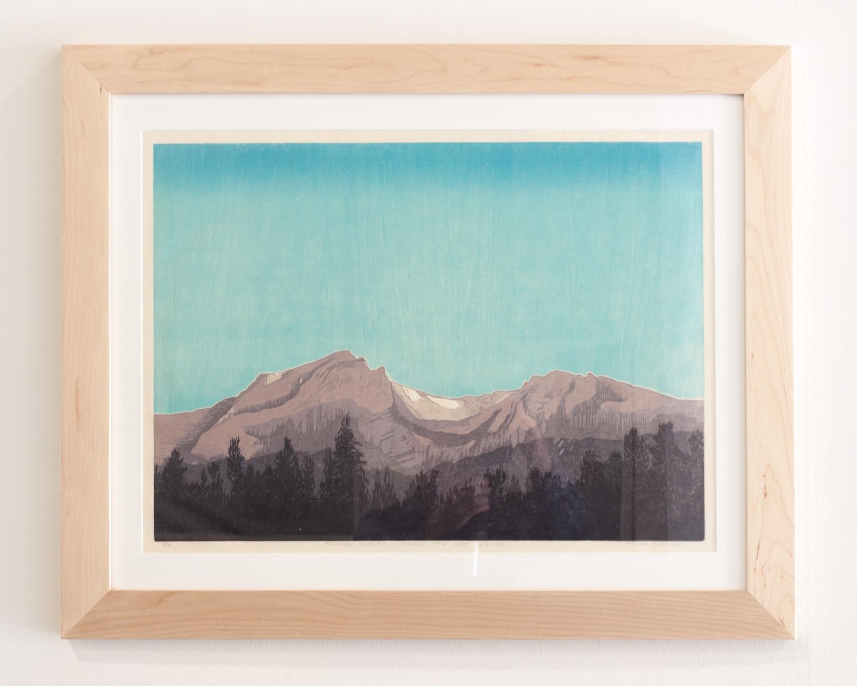 Mills Glacier woodcut print on Okawara Washi paper 17 x 24 inches TAN016