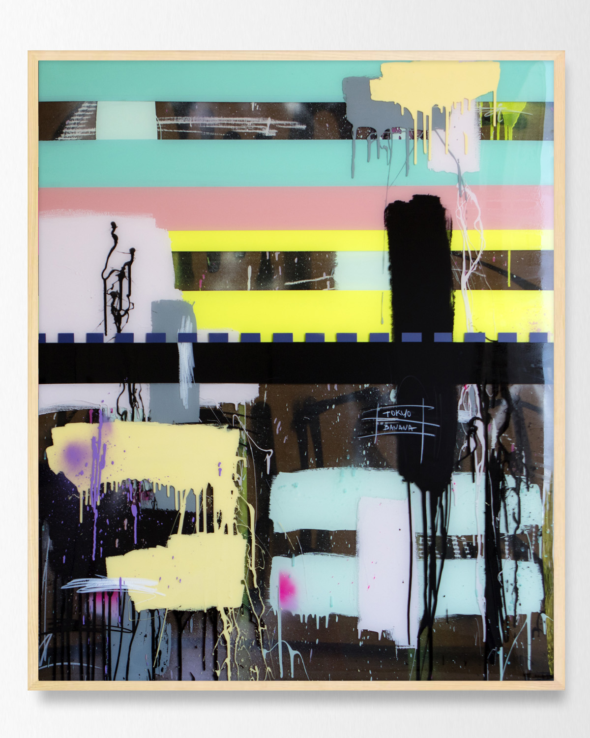 Tokyo Banana 42 x 50 inches mixed media with layered epoxy resin finish JBR 107