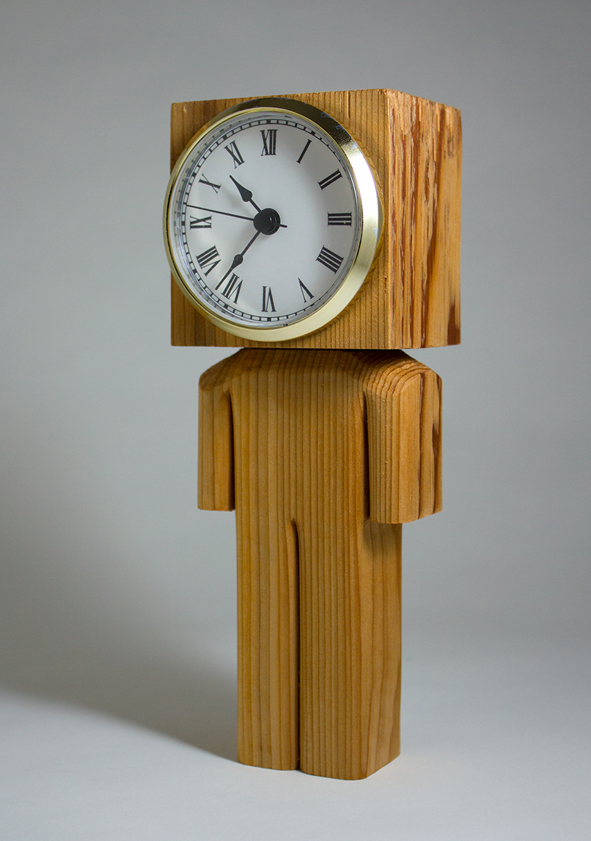 Clockhead II  wood acrylic and clock face 8.25 x 3 x 3 inches CSK 011G