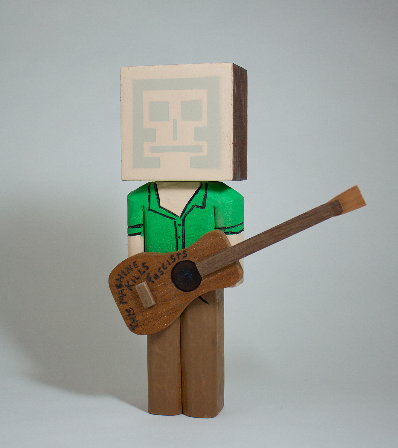 Woodie Guthrie in collaboration with Evereman wood and acrylic 10 x 3.25 x 2 inches CSK 027G