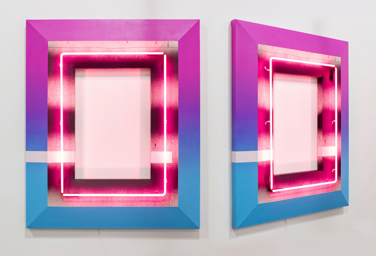 Fill the Void collab. Jeremy Brown acrylic, lacquer on canvas, neon 60 x 50 x 6 inches TKE 030G