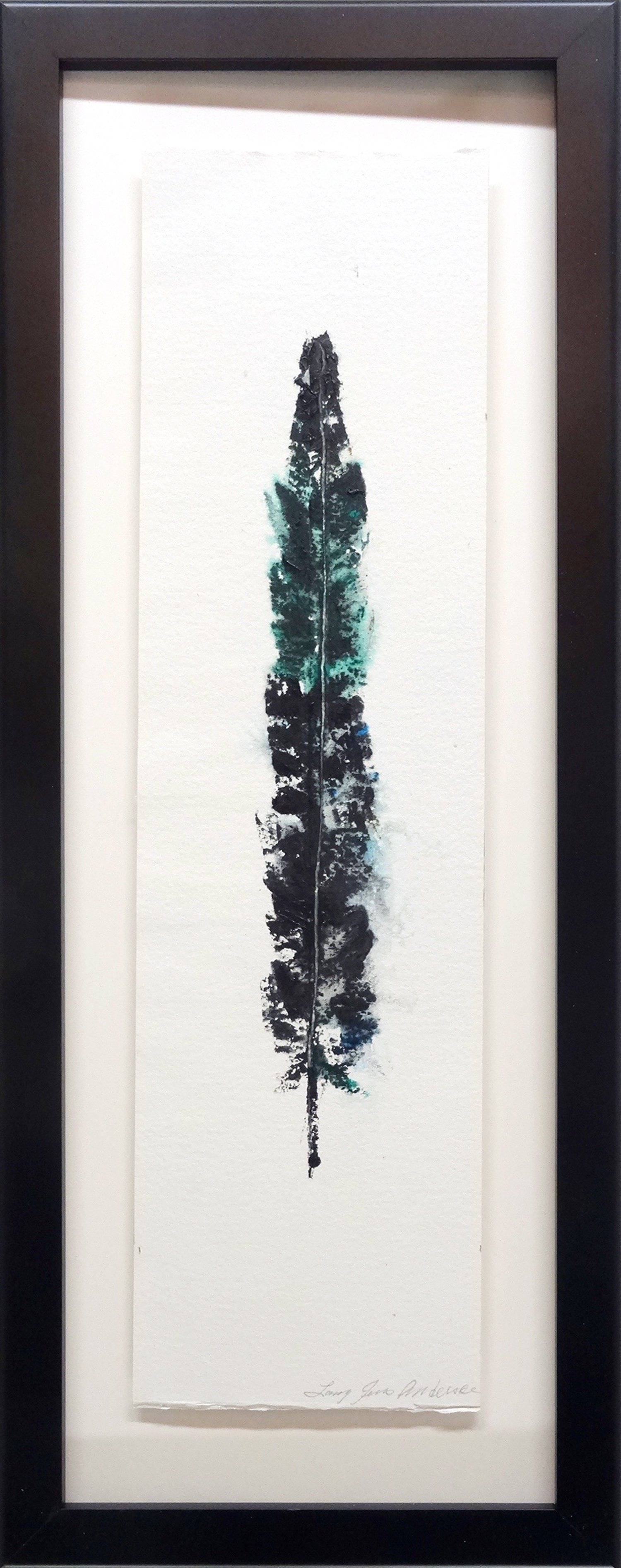 LARRY JENS ANDERSON SOLO FEATHER 3 ACRYLIC ON LAYERED WATERCOLOR PAPER IN SHADOWBOX FRAME 27 X 10 INCHES LJA 198G.jpg