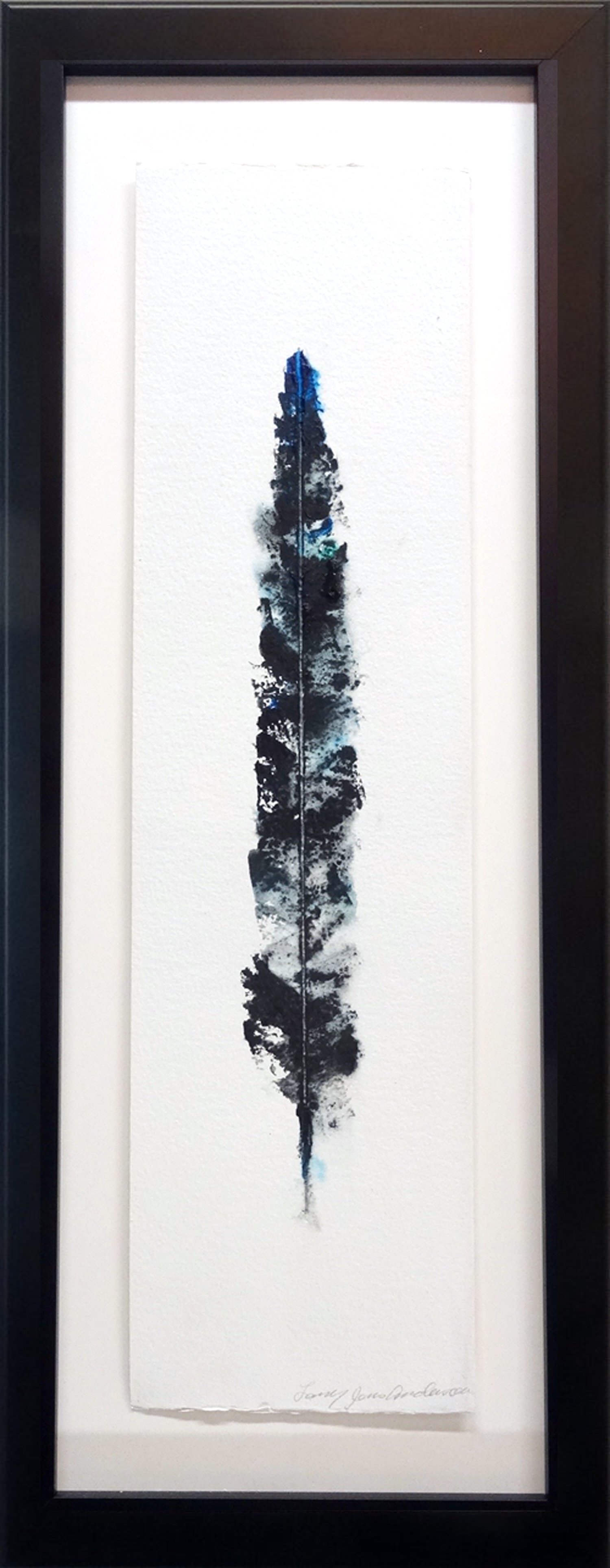 LARRY JENS ANDERSON SOLO FEATHER 2 ACRYLIC ON LAYERED WATERCOLOR PAPER IN SHADOWBOX FRAME 27 X 10 INCHES LJA 198G.jpg
