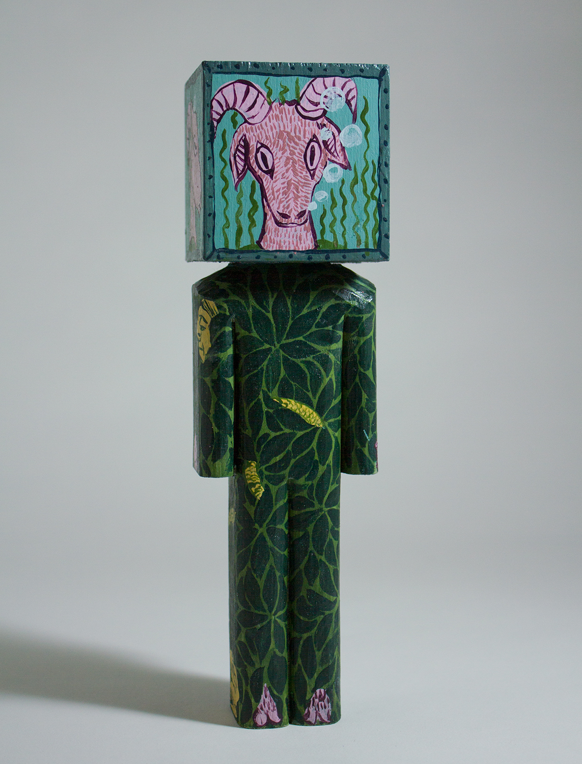 """""""Bleat"""" Collaboration with Andrew Catanese. basswood and acrylic. 7.5 x 2 x 2 inches. CSK 015G"""