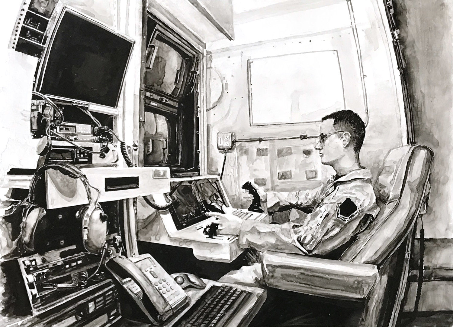 2013 (Drone Operator) ink on Yupo paper 20 x 28 inches JKO 094G