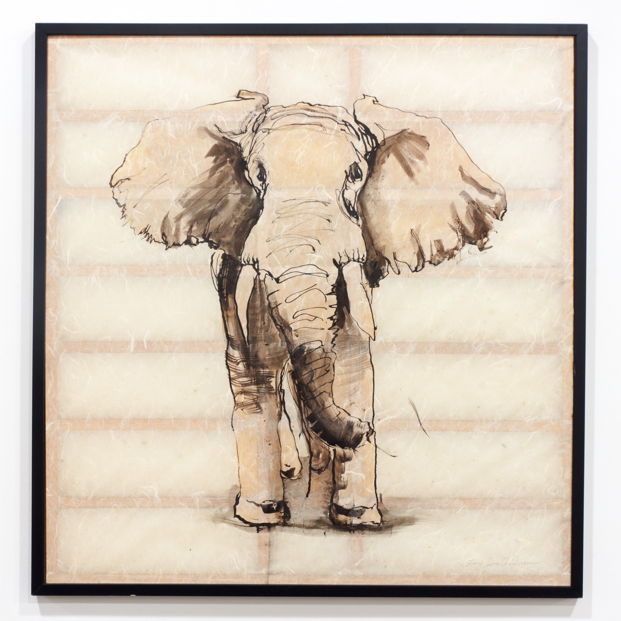 Elephant ink on Japanese paper 36 x 36 inches