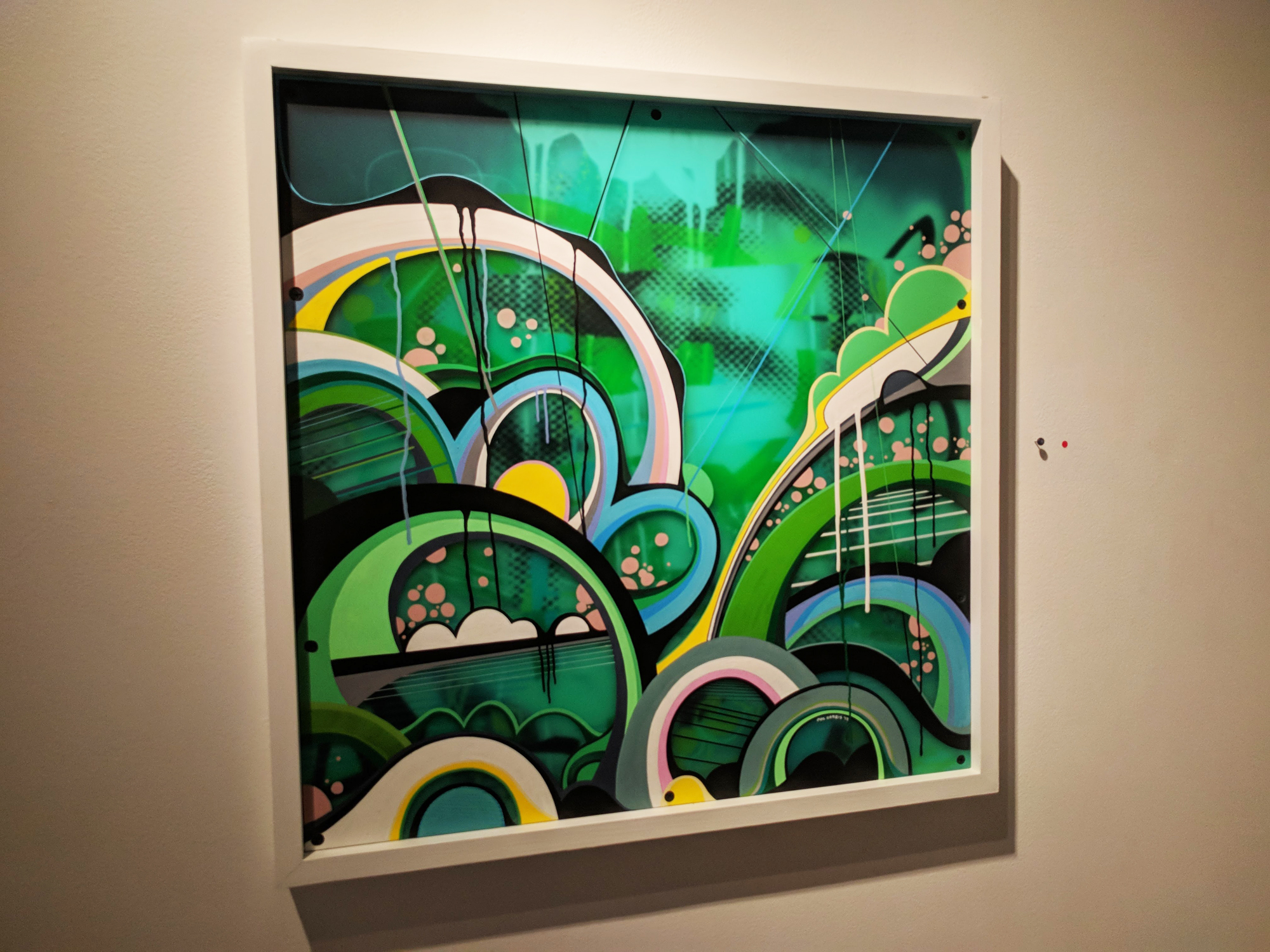 Phil Harris Untitled mixed media on double layered Plexiglas 23.5 x 23.5 inches PHA 005G