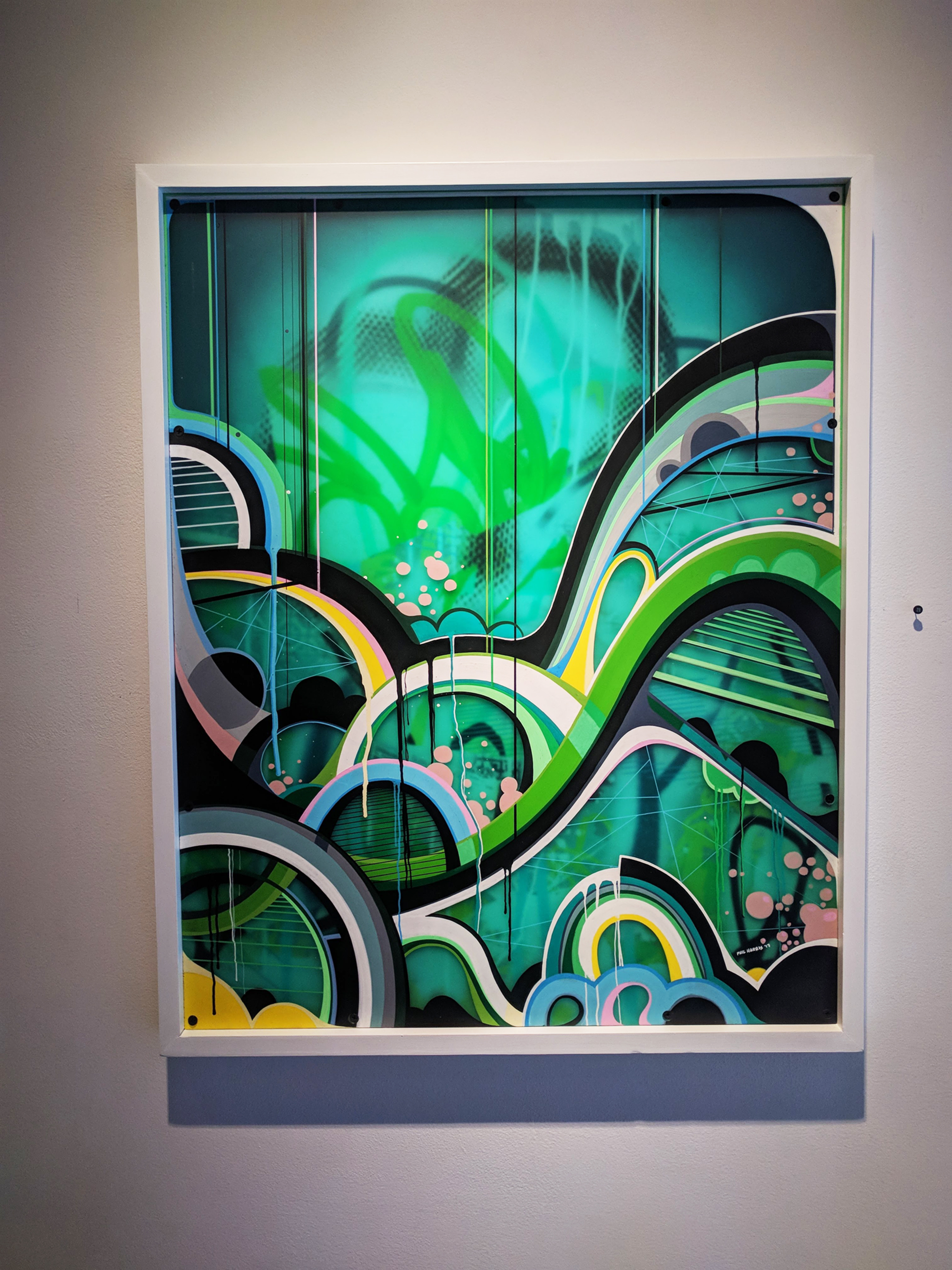 Phil Harris Untitled mixed media on double layered Plexiglas 24.5 x 30.5 inches PHA 006G