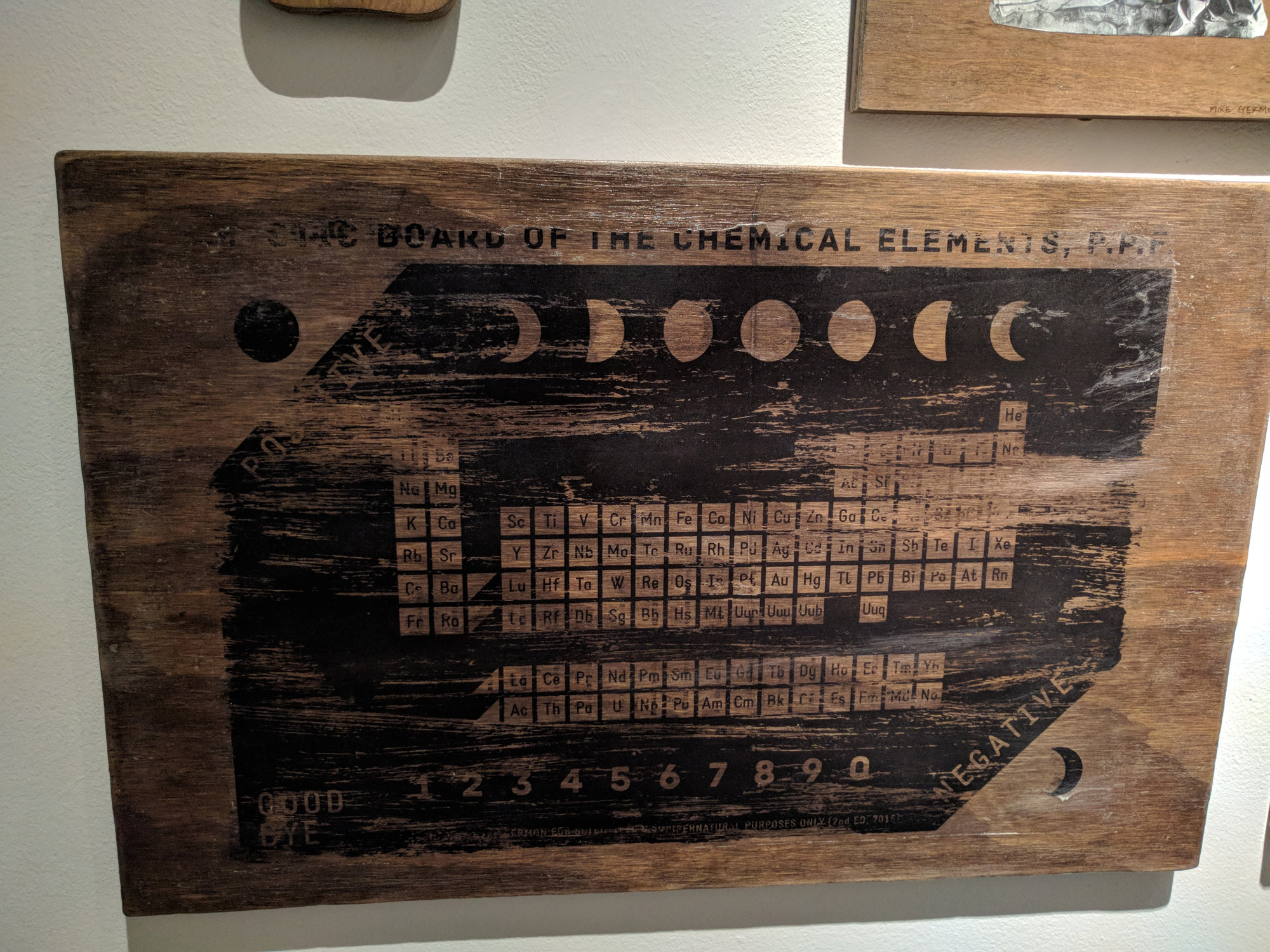 Mike Germon Mystic Board of the Chemical Elements transfer on wood 20 x 13 inches MGE 001G