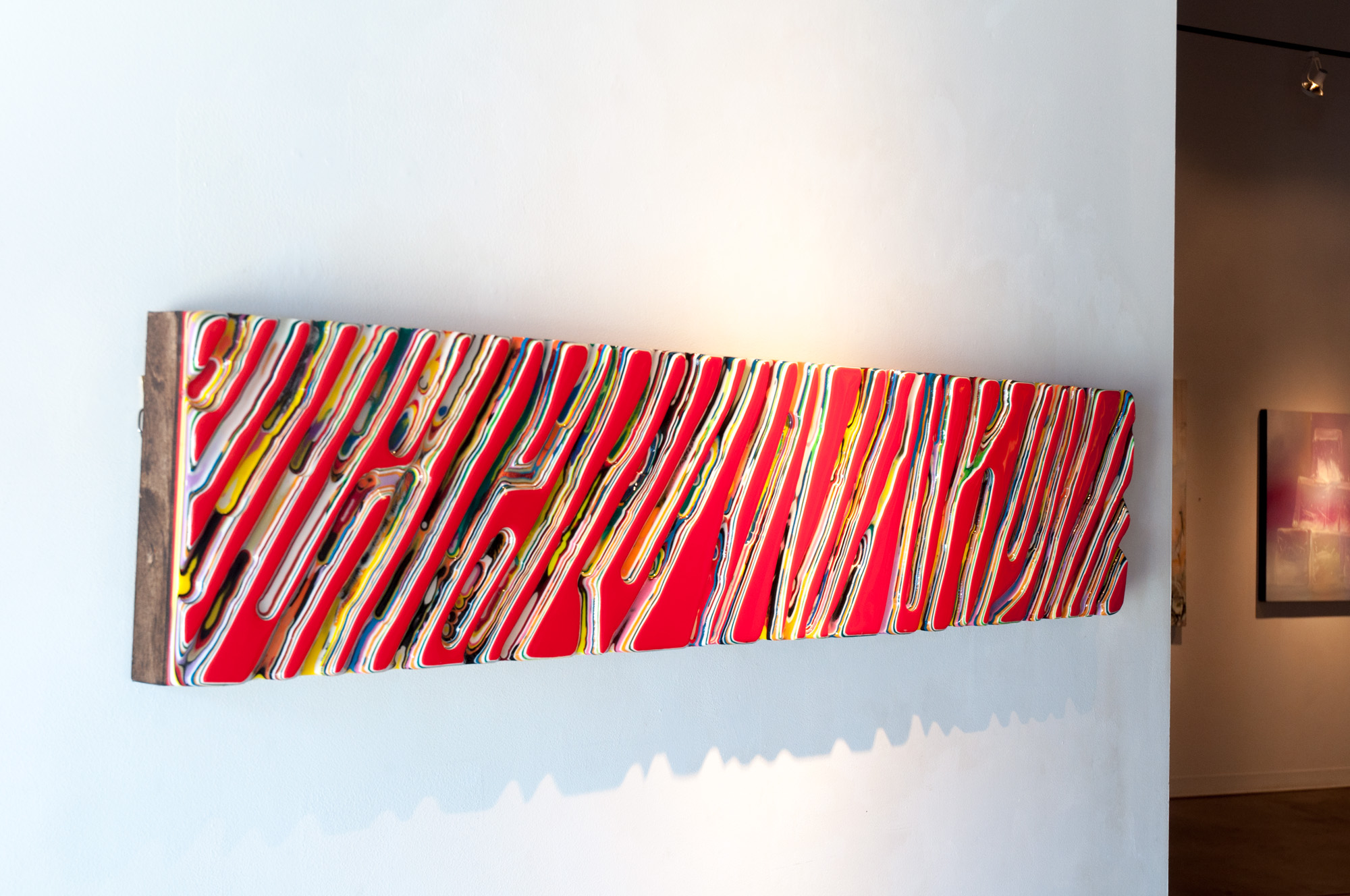 Jesse Watts She Doesn't Know She's Dreaming resin & color on panel board 12 x 60 inches JWT 004G