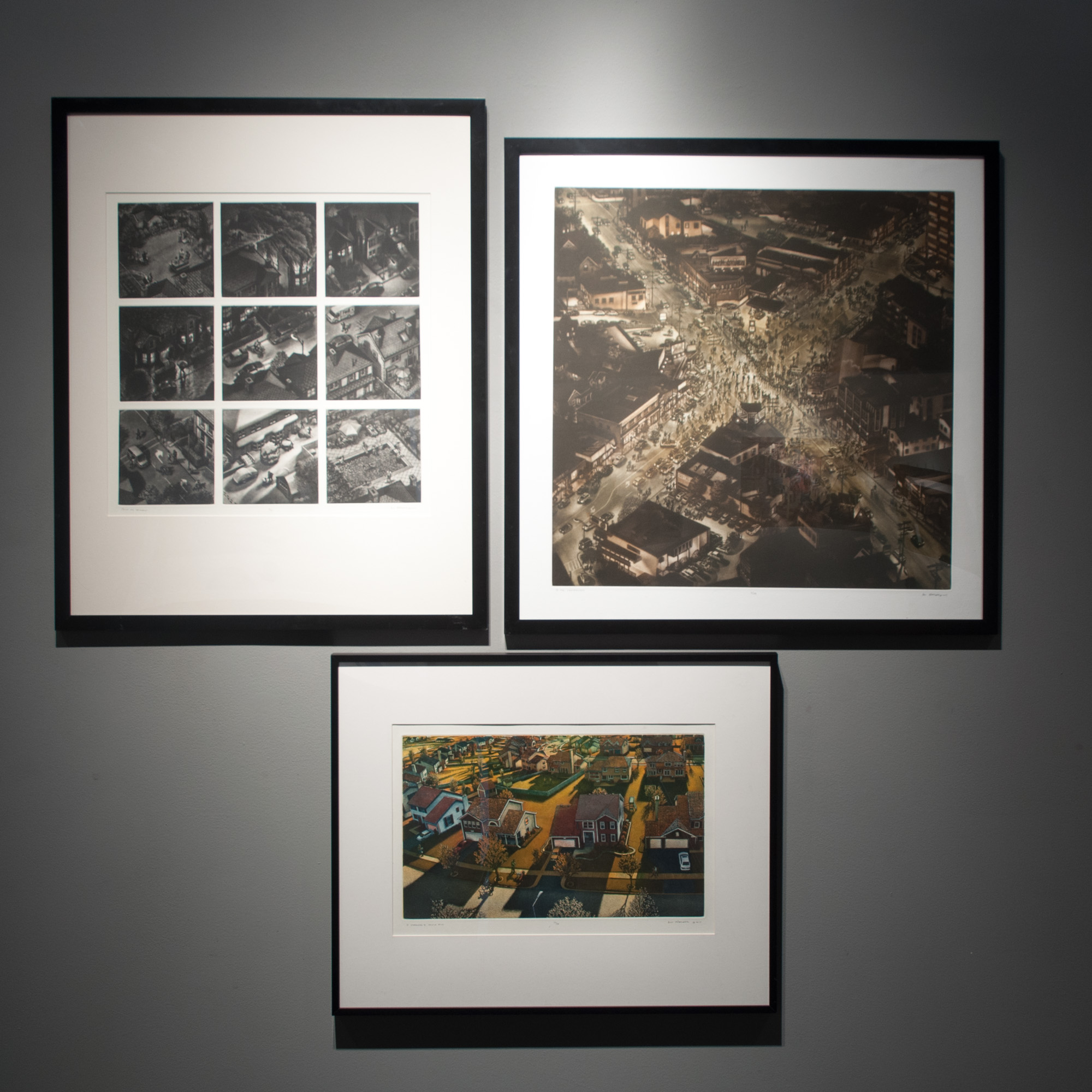 TL Art Werger From My Window mezzotint 18 x 18 inches ARW 003G TR Art Werger At the Crossroads mezzotint 24 x 24 inches ARW 001G B Art Werger I Dreamed I Could Fly color etching & aquatint 12 x 18 inches ARW 002G