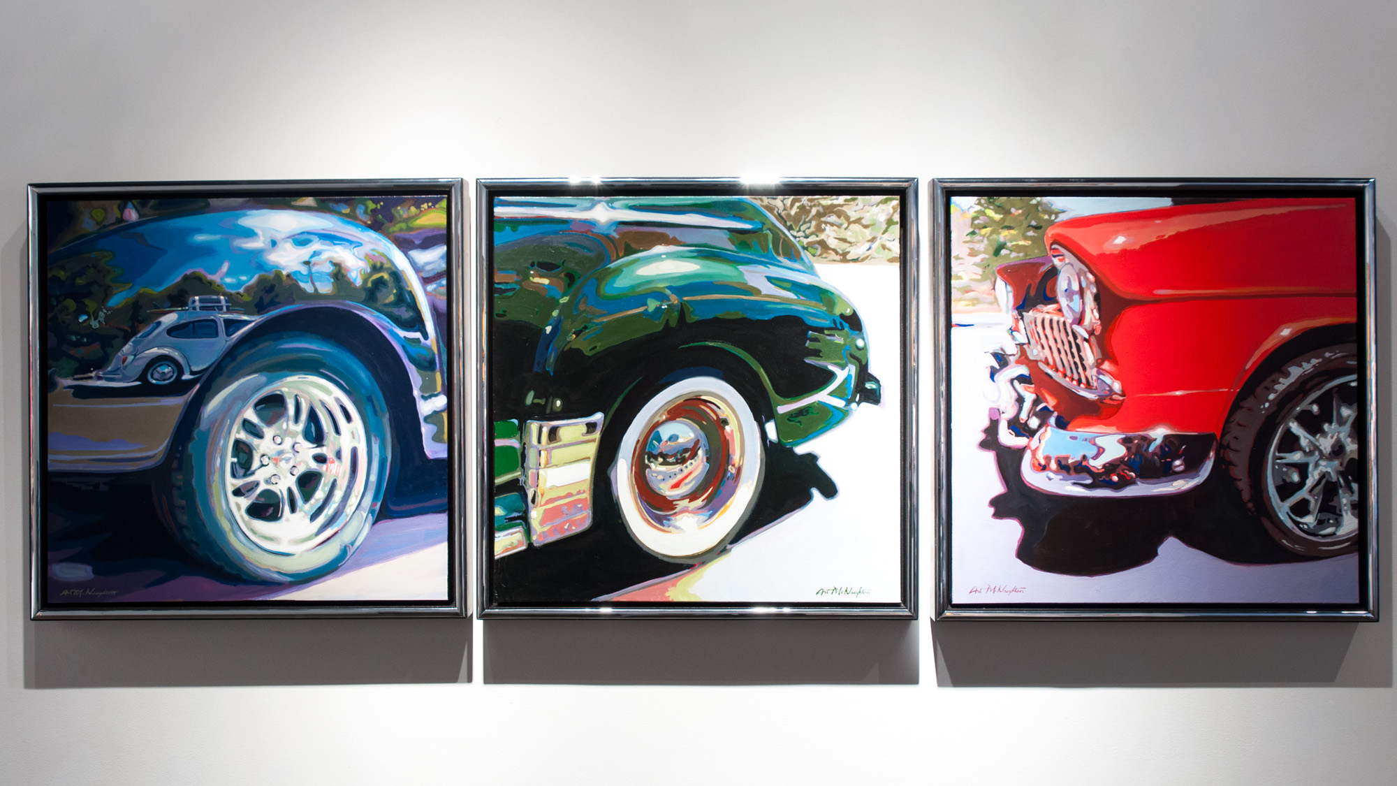 L Art McNaughton Car Show #4 oil on canvas 24 x 24 inches AMC 006G C Art McNaughton Car Show #2 oil on canvas 24 x 24 inches AMC 007G R Art McNaughton Car Show #3 oil on canvas 24 x 24 inches AMC 005G