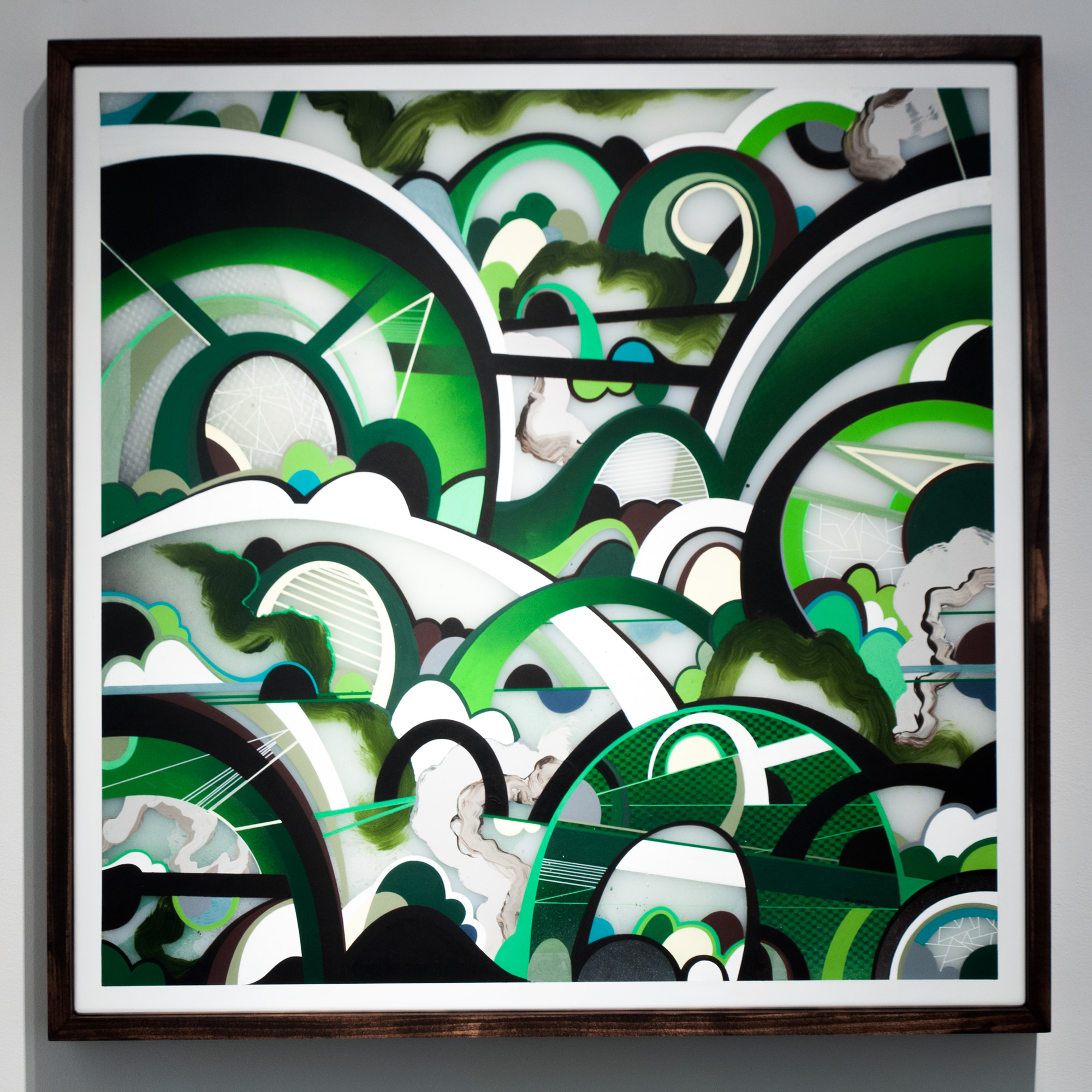 Phil Harris Untitled mixed media on double layered Plexiglas 33 x 33 inches PHA 003G