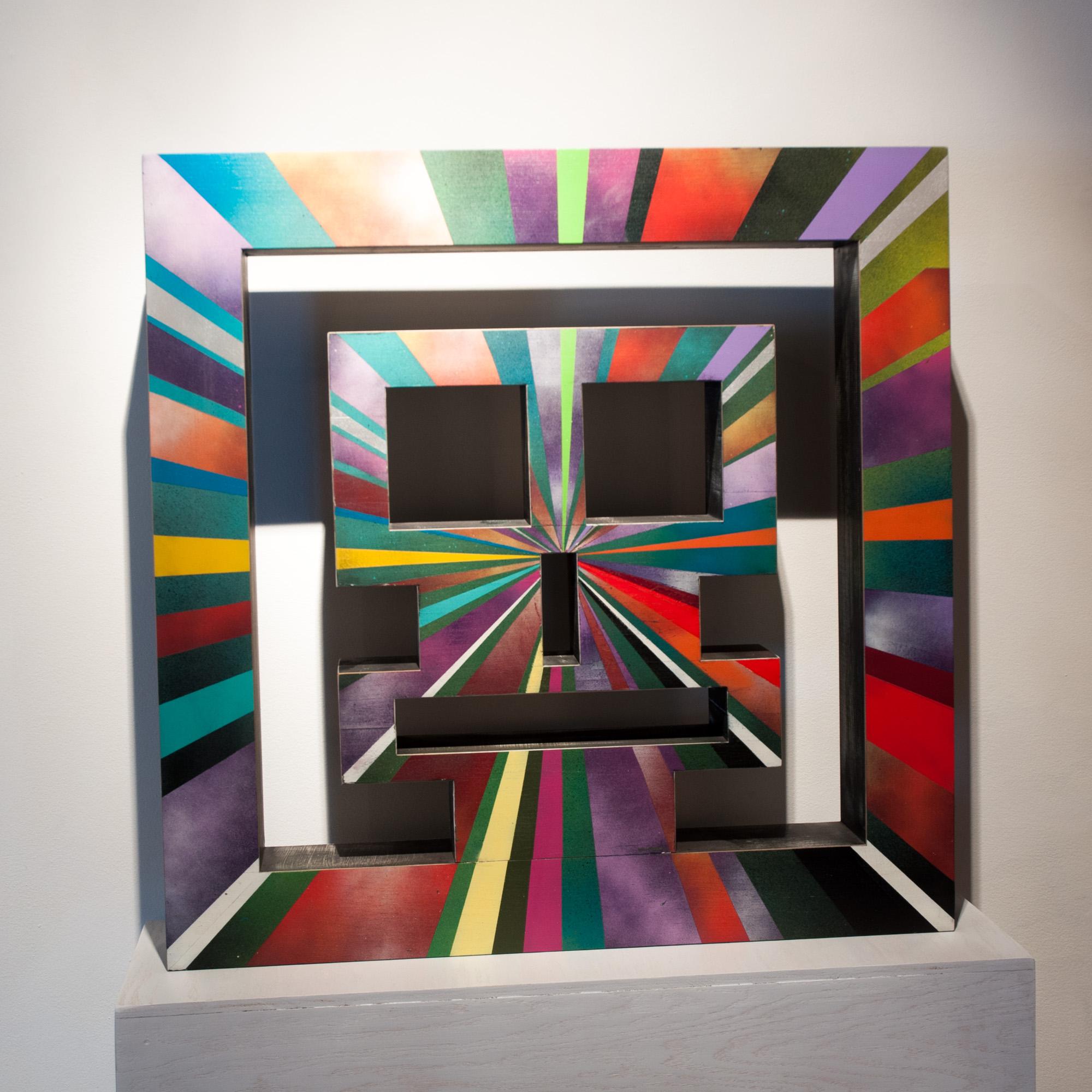 Evereman Big Bang Evereman (collab w/Peter Ferrari) poplar & paint 32 x 32 x 6 inches JWI 002G