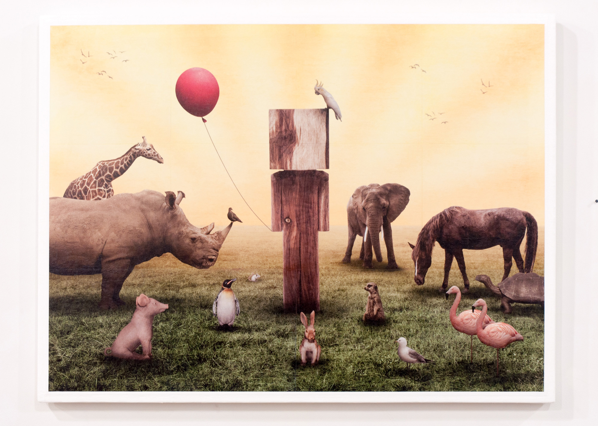 Menagerie (collab. BLOCKHEAD) gridded photograph on panel with gel medium 37 x 49 inches GNO 210G