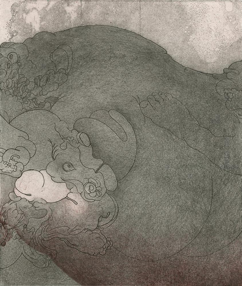 Hannah Adair   Lovers Drawing III  etching, graphite 10x8.5 in