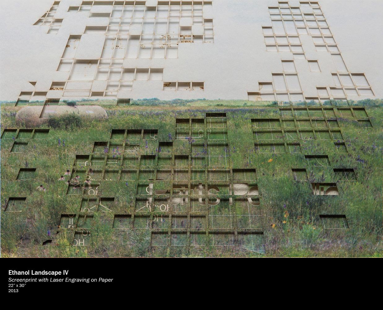 """Brendan Baylor   Ethanol Landscape IV  Screenprint with Laser Engraving on Paper 22"""" x 30"""""""