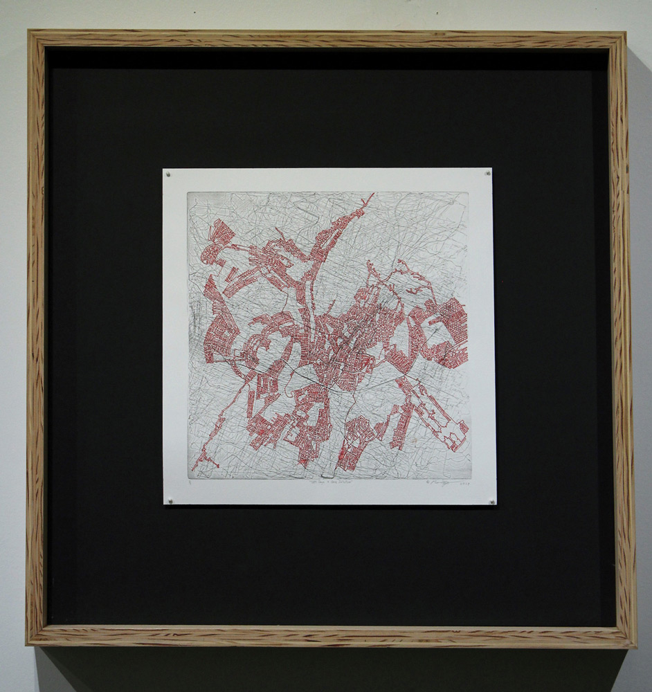 """Marc Boyson   """"584 Days + One Intuition""""  Letterpress Laser Cut Block on Rives BFK and Red Ink, 12 x 12 inches"""