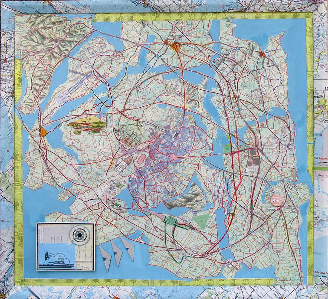 Lanny Brewster   A Leisurely Trip Around the City,  Paper/Wood/Glue, 19x20