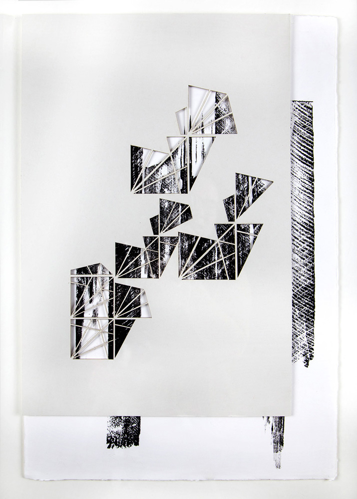 """Samantha Burns   Banished to the Other Shore,  Monoprint: laser cut relief print,15x21"""""""