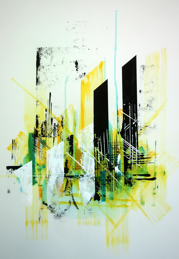 "Julio Ceballos    ""Structure II"" Acrylic on arches watercolor 22""x30"""