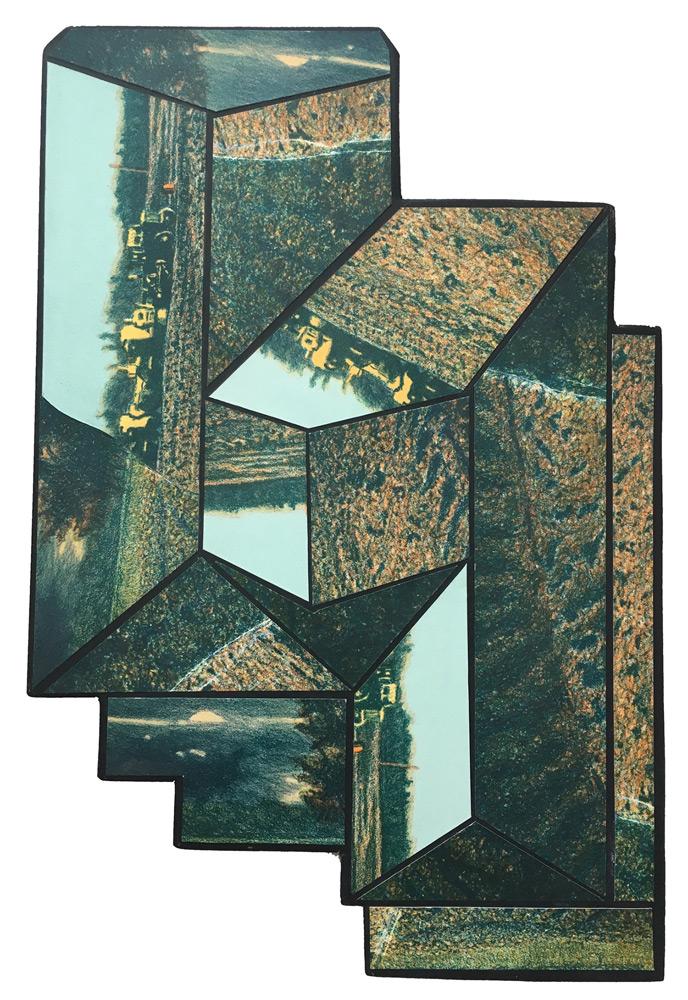 "Michael Crouse   Sprawl Icon VII , lithograph, acrylic on hardboard, 18""x12"""