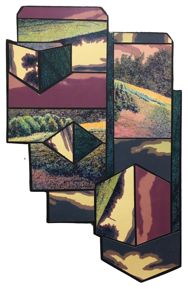 "Michael Crouse   Sprawl Icon VIII , lithograph, acrylic on hardboard, 23.25""x14"""