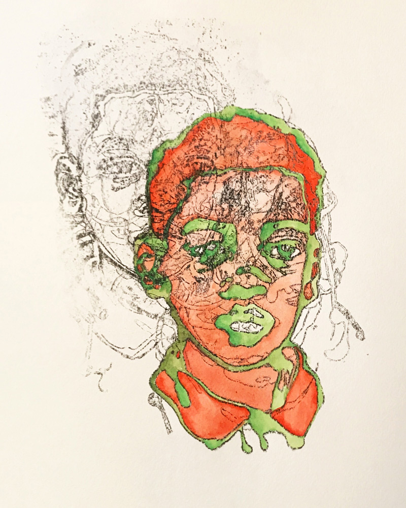 Joe Dreher   Puer Rufus et Viridis (The Boy Red and Green)  Carbon Transfer and Watercolor on Paper 11 x 14