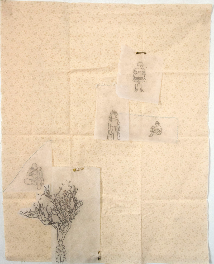 """Ashley Gregg   Stainless Banner  / cloth, parchment paper, graphite, thread, safety pins 22""""x17"""""""