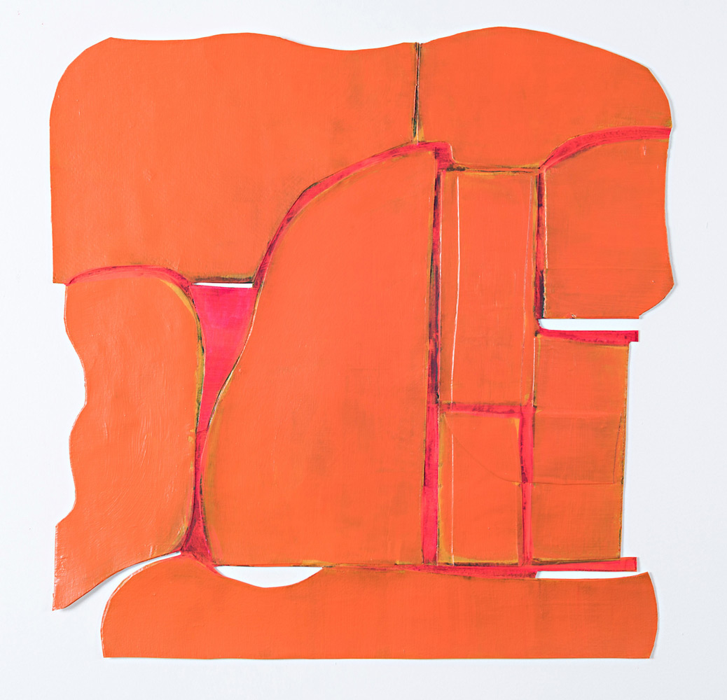 """Julie Henry   Tallahassee , acrylic/marker/gesso/glue/paper, 19"""" x 19.5"""""""