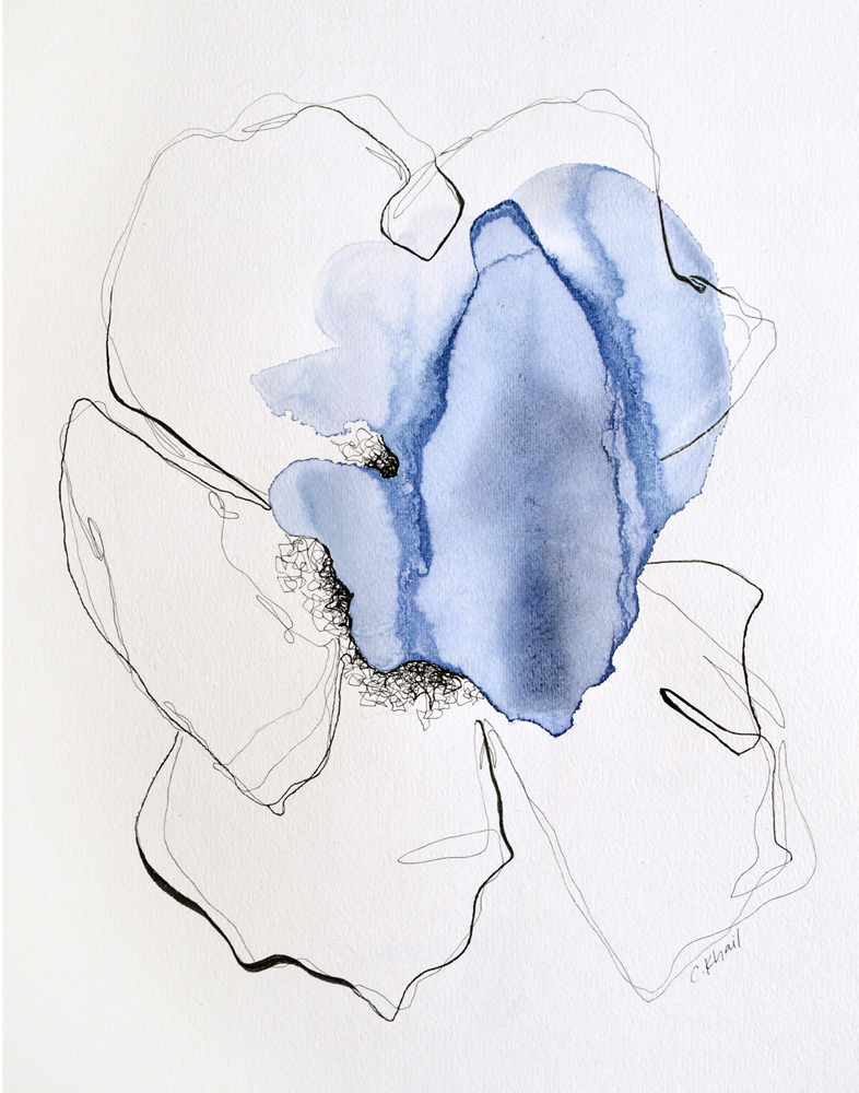 """Courtney Khail   Dreams in Color (Indigo)  watercolor on paper 11""""x14"""""""