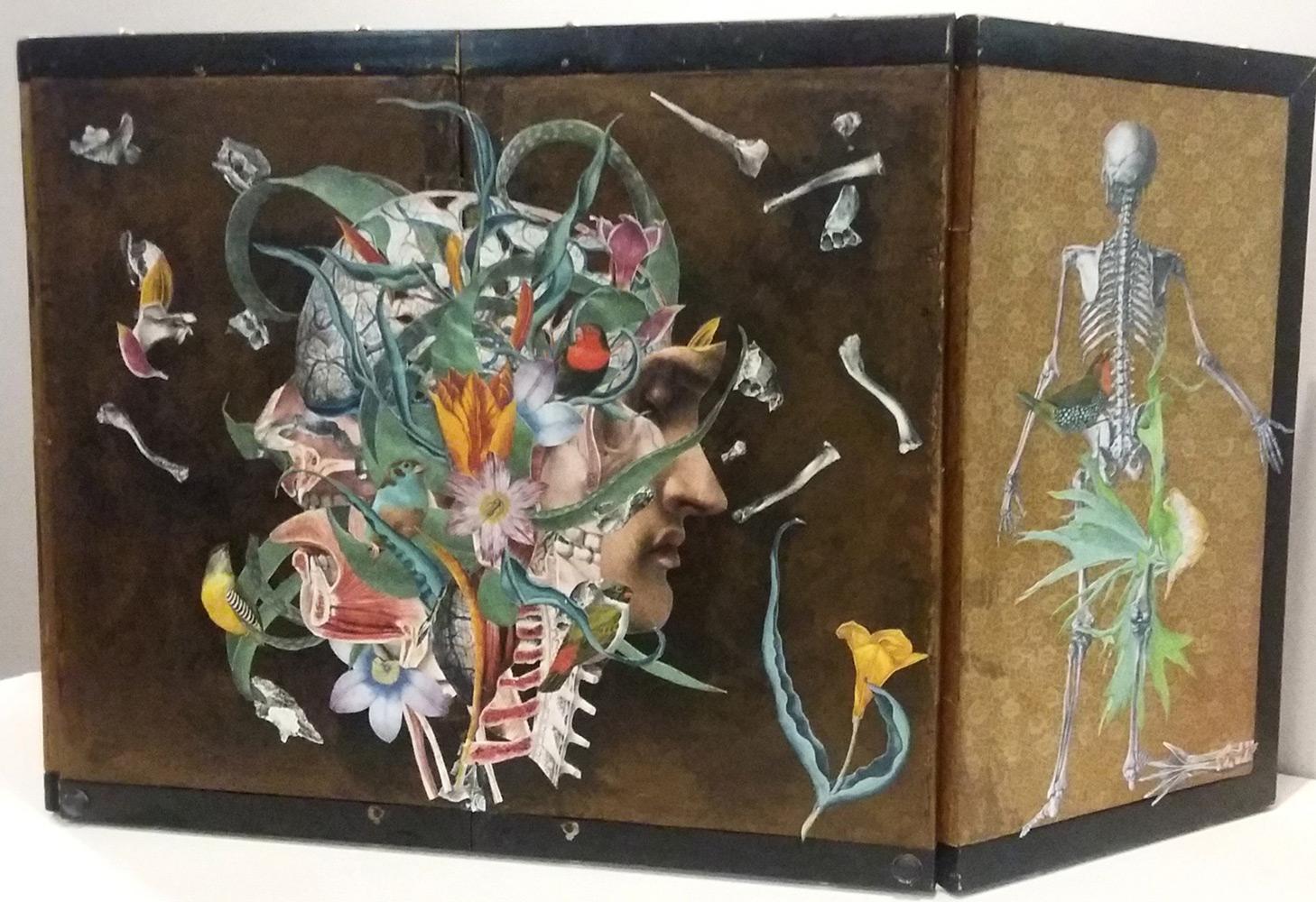 Axelle Kieffer   Ad Medietatem Corporis , analog collage on panel, 14.5 x 32.5 x 1 inches