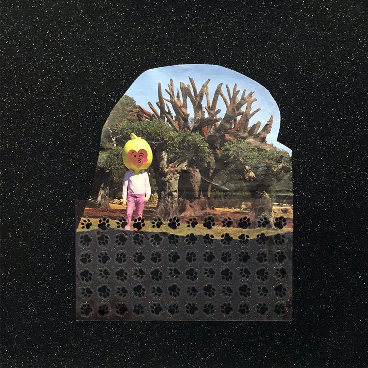 "Laila Kouri   ""Sunday Stroll ,"" 2018, Mixed Media Collage, artwork: 12 x 12"""
