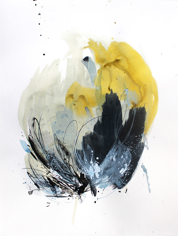 Christina Kwan     Abstract Blues 4 , Acrylic Ink on Paper, 24 x 18 inches