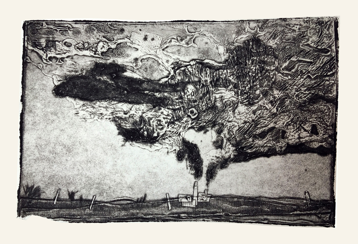 """Neil Ruby   Smokestack Cloud , Collograph on Arches, 8 x 12"""""""